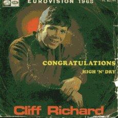 Discos de vinilo: CLIFF RICHARD / CONGRATULATIONS / HIGH 'N' DRY (SINGLE 1968). Lote 110571667