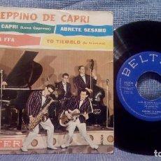 Discos de vinilo: PEPPINO DE CAPRI Y SUS ROCKERS - LUNA DE CAPRI + 3 SELLO BELTER ED. ESPAÑOLA DE 1960. Lote 110663455