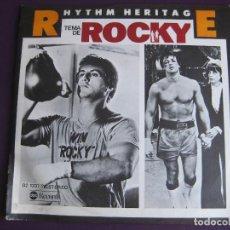 Discos de vinilo: RHYTHM HERITAGE SG MEDITERRANEO 1978 TEMA DE ROCKY BSO/ LAST NIGHT ON EARTH SYLVESTER STALLONE. Lote 110723447