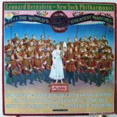 Discos de vinilo: LEONARD BERNSTEIN-NEW YORK PHILHARMONIC.THE WORLD´S GREATEST MARCHES 2 X LP...RARO. Lote 110889751