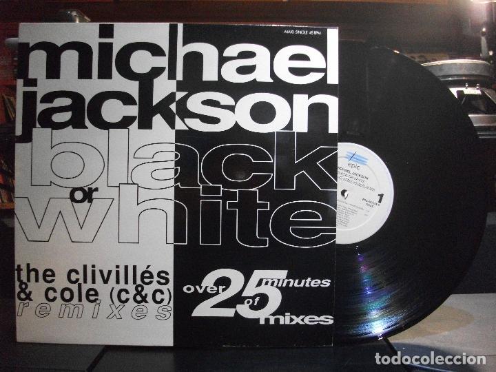 MICHAEL JACKSON BLACK OR WHITE - REMIXES MAXI SPAIN 1991 PEPETO TOP (Música - Discos de Vinilo - Maxi Singles - Pop - Rock Extranjero de los 90 a la actualidad)