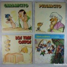 Discos de vinilo: LOTE 4X GARBANCITO / PULGARCITO / LOS TRES OSITOS / BLANCANIEVES Y LOS SIETE ENANITOS -VINILO SINGLE. Lote 111191723