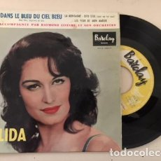 Discos de vinilo: DALIDA - DANS LE BLEU DU CIEL BLEU +3 / EP FRENCH 1958 - BARCLAY 70158. Lote 111240475