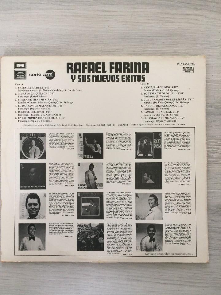 Discos de vinilo: Rafael Farina y sus nuevos exitos lp. - Foto 5 - 111251203