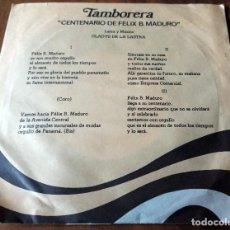 Discos de vinilo: SINGLE - DISCOS - RECUERDO DEL CENTENARIO DE FELIX B. MADURO - TAMBORERA. Lote 111434647