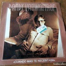 Discos de vinilo: SINGLE - DISCOS - EDIGSA - DANDY VANWARMER - CUANDO MAS TE NECESITABA. Lote 111435623