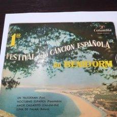 Disques de vinyle: 1º FESTIVAL CANCION BENIDORM: JUANITO SEGARRA, LOS XEY Y MARY SANCHEZ Y LOS BANDAMA. Lote 111487267