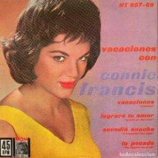 Discos de vinilo: CONNIE FRANCIS, EP, VACACIONES + 3, AÑO 1962. Lote 111605555