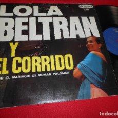 Disques de vinyle: LOLA BELTRAN Y EL CORRIDO CON EL MARIACHI DE ROMAN PALOMAR LP PEERLESS MEXICO. Lote 111724475