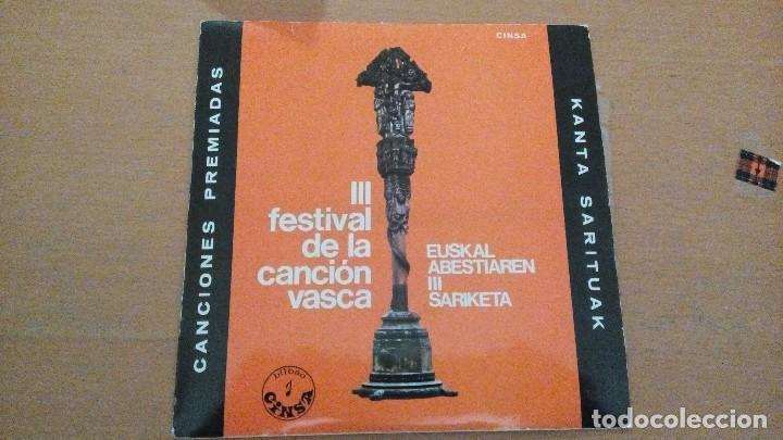 III FESTIVAL DE LA CANCIÓN VASCA EP 1967 BENITO LERTXUNDI, BEGOÑA IDOYAGA, JUAN LIBARONA, (Música - Discos de Vinilo - EPs - Country y Folk)