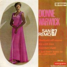 Discos de vinilo: DIONNE WARWICK - FESTIVAL SAN REMO 1967, EP, DEDICATO ALL´AMORE + 3, AÑO 1967. Lote 111855787