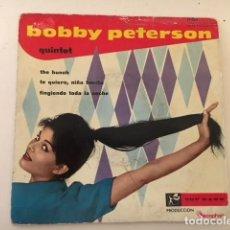 Discos de vinilo: BOBBY PETERSON QUINTET - THE HUNCH + 3 / EP DISCOPHON 17.056 1960 VINILO AZUL. Lote 111890539