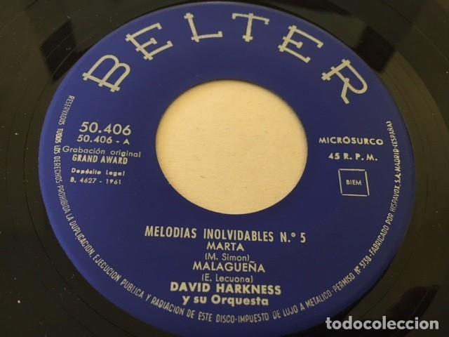 Discos de vinilo: DAVID HARKNESS - MELODIAS INOLVIDABLES Nº 5 MARTA - ANDALUCIA + 2 / EP belter 1961 - Foto 3 - 111891147