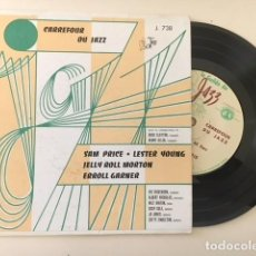 Discos de vinilo: VARIOS – CARREFOUR DU JAZZ - JELLY ROLL MORTON LESTER YOUNG / EP GUILDE DU JAZZ – J. 738 FRANCIA. Lote 111963915