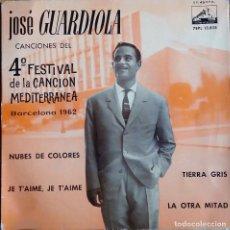 Discos de vinilo: JOSE GUARDIOLA.FESTIVAL CANCION MEDITERRANEA. NUBES DE COLORES. EP. Lote 112055503