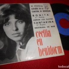 Discos de vinilo: CECILIA CON LOS SONOR BONITA/ABRAN LOS OJITOS/CANTARINA +1 EP 1964 PHILIPS EN BENIDORM. Lote 112169291