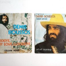 Discos de vinilo: DEMIS ROUSSOS, LOTE DOS SINGLE VINILO, VELVET MORNINGS Y DE GOODBYE MY LOVE, PHILIPS. Lote 112227551