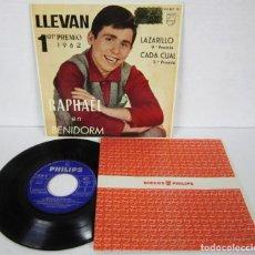 Discos de vinilo: RAPHAEL EN BENIDORM 1º PREMIO 1962 - EP - LLEVAN / LAZARILLO / CADA CUAL / INMENSIDAD - PHILIPS. Lote 112345151