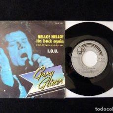Discos de vinilo: GARY GLITTER. HELLO! HELLO! I'M BACK AGAIN, I.O.U. SINGLE BELL, 1973. Lote 112517403