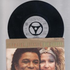 Discos de vinilo: JERMAINE JACKSON & PIA ZADORA - WHEN THE RAIN BEGINS TO FALL + SUBSTITUTE (SINGLE 7' 1984). Lote 112563875