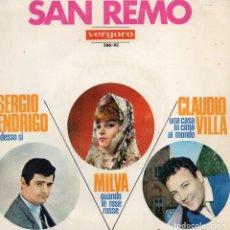 Discos de vinilo: FESTIVAL DE SAN REMO 1966, EP, MILVA - NESSUNO DI VOI + 3 , AÑO 1966. Lote 112591471
