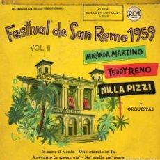 Discos de vinilo: FESTIVAL DE SAN REMO 1959, EP, MIRANDA MARTINO - IO SONO IL VENTO + 3 , AÑO 1959. Lote 112591991