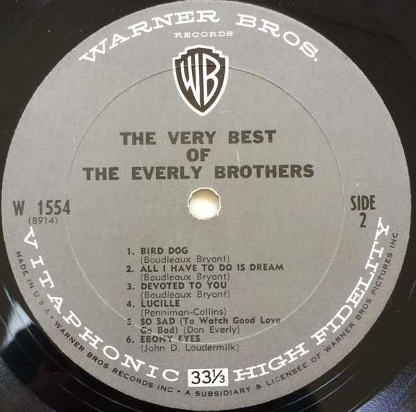 Discos de vinilo: THE EVERLY BROTHERS - The Very Best Of The Everly Brothers (LP 1964, Warner Bros. W 1554) - Foto 3 - 112522391