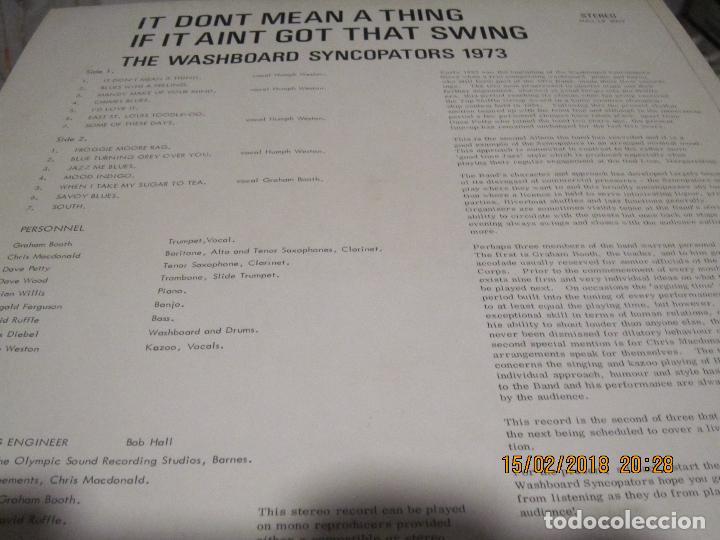Discos de vinilo: THE WASHBOARD SYNCOPATORS - 1973 LP - ORIGINAL INGLES - PRENSAJE PRIVADO . 1973 STEREO - - Foto 7 - 112632043