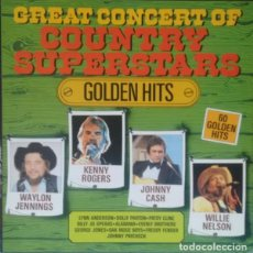 Discos de vinilo: KENNY ROGERS / WILLIE NELSON & WAYLON JENNINGS / FREDDY FENDER / JOHNNY CASH... COUNTRY BOX. 3 LPS.. Lote 112648579