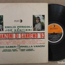Discos de vinilo: LE CANZONI DI SANREMO 63 EMILIO PERICOLI & JOE SENTIERI LP VINYL MADE IN ITALIA 1978. Lote 112666407