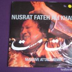 Discos de vinilo: NUSRAT FATEH ALI KHAN + MASSIVE ATTACK SG VIRGIN 1990 - MUSTT MUSTT/ THE GAME - ELECTRONIC . Lote 112685735