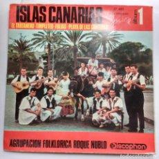 Discos de vinilo: AGRUPACION FOLKLORICA ROQUE NUBLO // ISLAS CANARIAS // DOBLE PORTADA. Lote 112687371