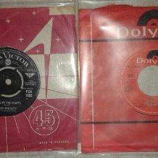 Discos de vinilo: LOTE SINGLES ELVIS PRESLEY 1965 ED. INGLESA Y CREAM 1969 CON ERIC CLAPTON Y GEORGE HARRISON BEATLES. Lote 113003179