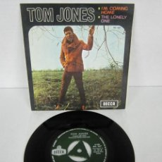Discos de vinilo: TOM JONES - I'M COMING HOME + THE LONELY ONE - SINGLE - DECCA 1967 SPAIN ME 367. Lote 113027875