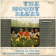 Discos de vinilo: THE MOODY BLUES. VOICES IN THE SKY, DR, LIVINGSTONE I PRESUME ED. ESPAÑA PROMO 1968. Lote 113062831