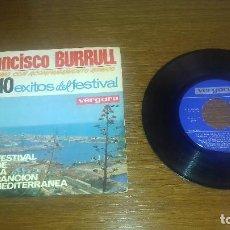 Discos de vinilo: SINGLE - FRANCISCO BURRULL - LOS 10 ÉXITOS DEL VI FESTIVAL DE LA CANCIÓN MEDITERRÁNEA - SPANISH. Lote 113091919