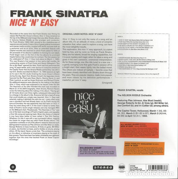 Discos de vinilo: FRANK SINATRA * LP HQ Virgin Vinyl 180g + CD * NICE N EASY * Edición Limitada *Precintado!! - Foto 4 - 113113595