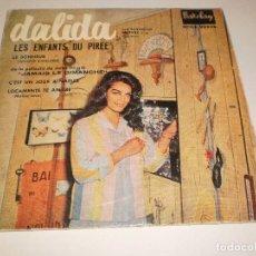 Discos de vinilo: SINGLE DALIDA. LES ENFANTS DU PIREE + 3 TEMAS. BARCLAY 1959 SPAIN (DISCO PROBADO Y BIEN). Lote 113122551