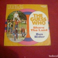Discos de vinilo: THE GUESS WHO SHARE THE LAND - BUS RIDER RCA 1970 BUEN ESTADO Y SONIDO. Lote 113201463