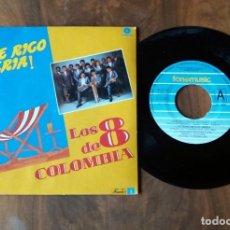 Discos de vinilo: SINGLE - FONOMUSIC - LOS 8 DE COLOMBIA - ¡QUE RICO SERIA!. Lote 113207183