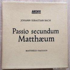 Discos de vinilo: JOHANN SEBASTIAN BACH PASSIO SECUNDUM MATTHAEUM (4 LP BOX SET) AÑO 1958. Lote 113248155
