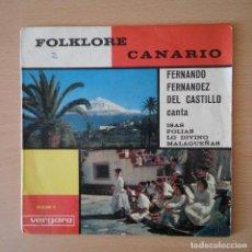 Discos de vinilo: FOLKLORE CANARIO / FERNANDO FERNANDEZ DEL CASTILLO CANTA ISAS, FOLIAS, LO DIVINO +1 - EP VERGARA . Lote 113276451