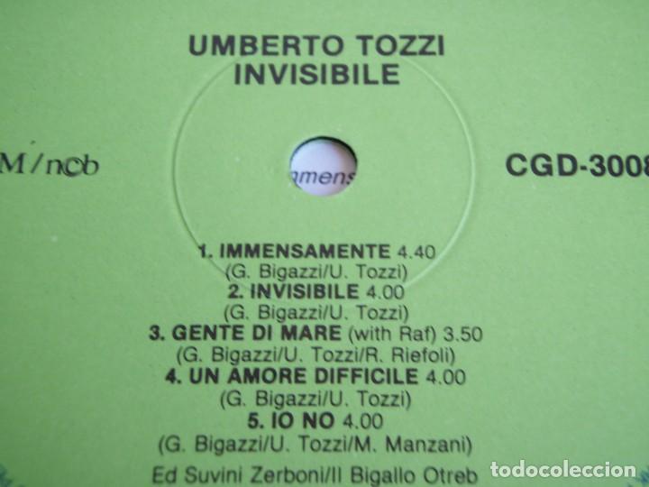 Discos de vinilo: UMBERTO TOZZI ( INVISIBILE ) 1987 - FINLANDIA LP33 CGD - Foto 6 - 113312951