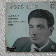 Discos de vinilo: JOSE LUIS. SINGLE CON 4 TEMAS: MARIQUILLA, CAMPESINA, ECOS DE MI CANTAR Y POKER. PHILIPS. 1958. JOSE. Lote 113318551