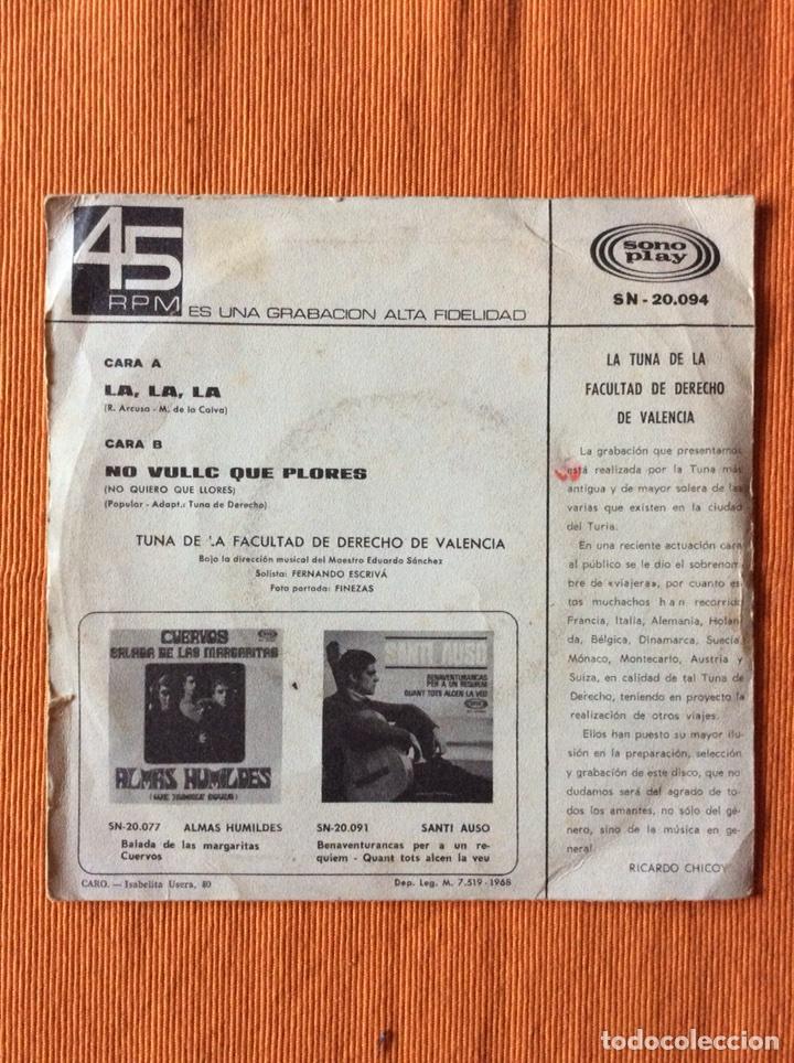 Discos de vinilo: TUNA FACULTAD DERECHO VALENCIA DISCO PEQUEÑO SONOPLAY - Foto 2 - 113330530