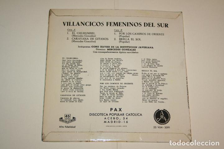 Discos de vinilo: VILLANCICOS FEMENINOS DEL SUR *** SINGLE VINILO (1966) *** PAX (Discoteca Popular Católica) *** - Foto 2 - 113352023