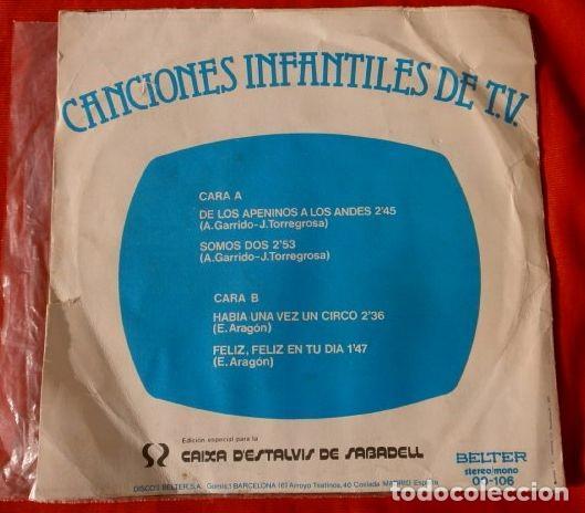 Discos de vinilo: LA CHIQUILLADA canta (Single 1977) MARCO DE LOS APENINOS A LOS ANDES - SOMOS DOS - DE LA SERIE DE TV - Foto 2 - 113430383