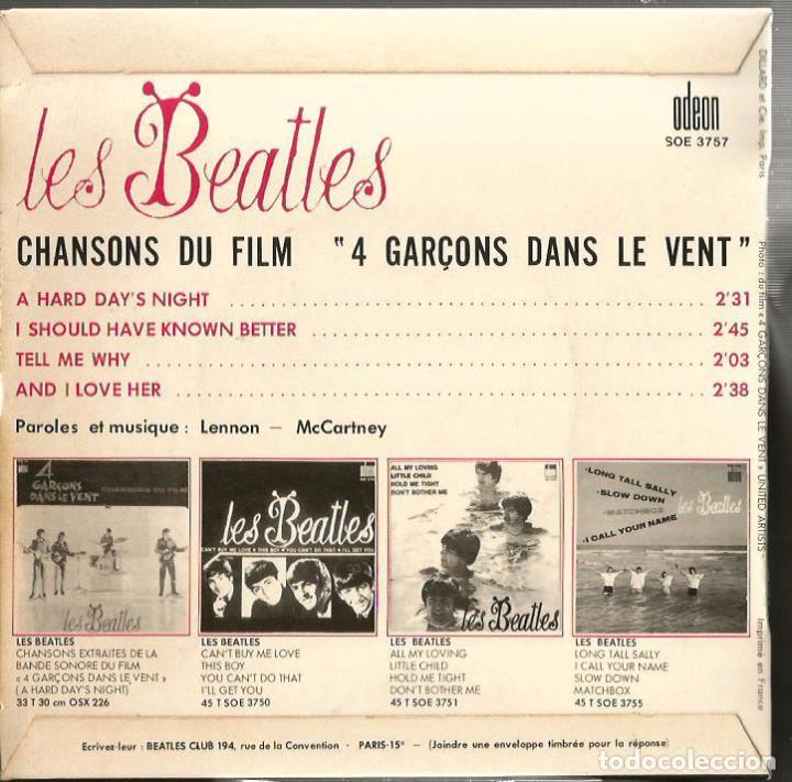 Discos de vinilo: EP LES BEATLES : 4 GARÇONS DANS LE VENT ( CHANSONS DU FILM ) EXCELENTE SONIDO - Foto 2 - 113433839