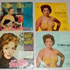 Discos de vinilo: SARITA MONTIEL - EL ULTIMO CUPLE - 4 SINGLES - LOTE. Lote 113436139