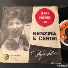Discos de vinilo: GIORGIO GABER (BENZINA E CERINI SAN REMO 61) SINGLE ITALIA (EPI9). Lote 113533867